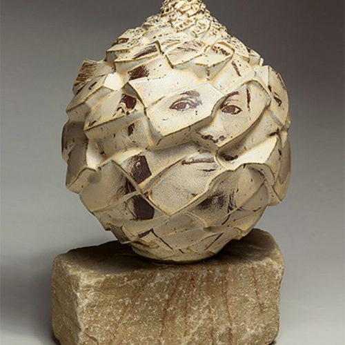 Refracted Journeys Portraits Sophie - Ceramic Pot With Face Painted On It
