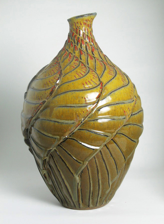 The Phoenix 2 - Gold ceramic vase