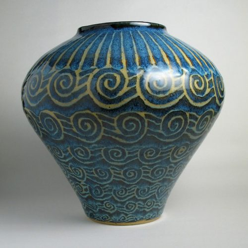 Waves - Blue Ceramic Vase