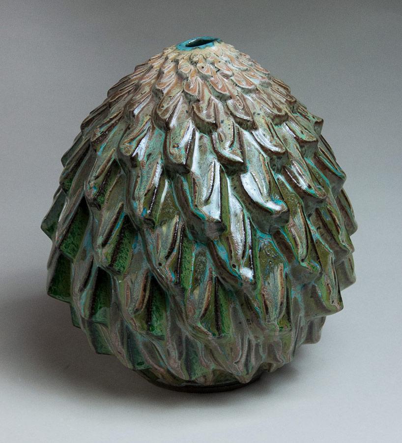 Mossy Periderm - Blue-green ceramic pot