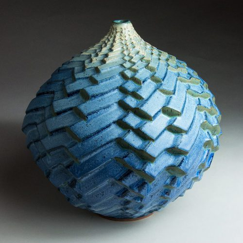 Rhythm In Thirds - Blue Ceramic Pot