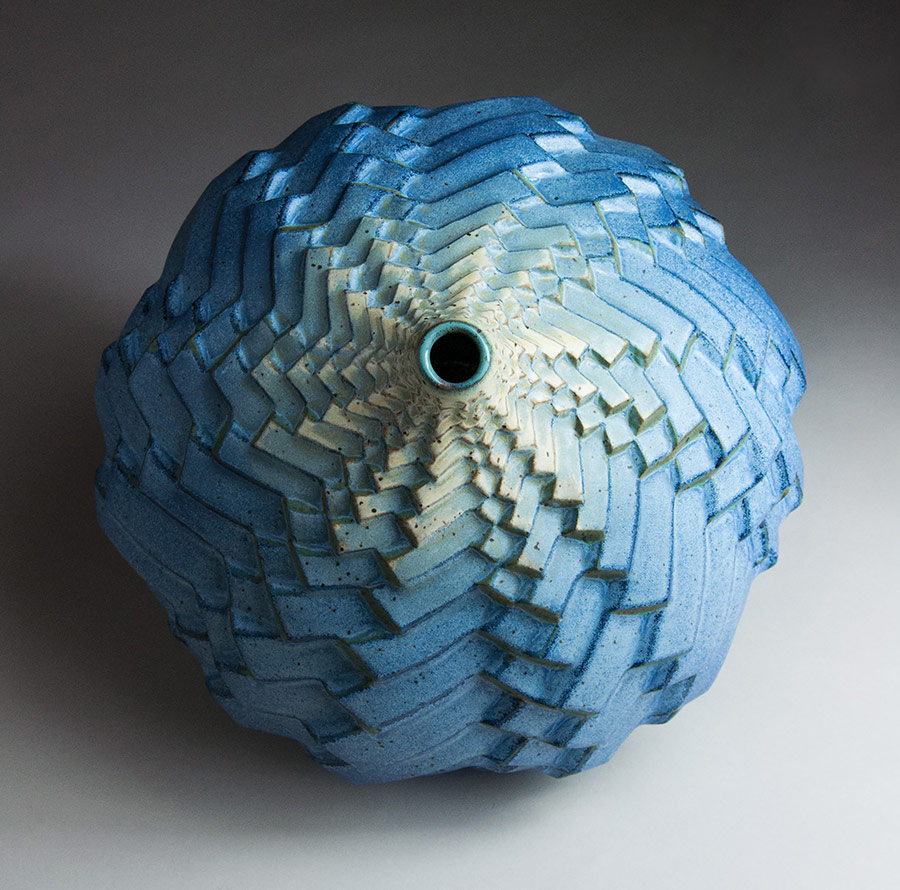 Rhythm in Thirds - Blue ceramic pot