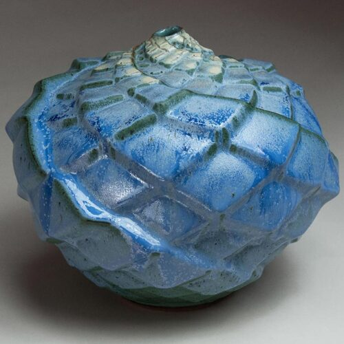 Floating Spiral - Blue Ceramic Pot