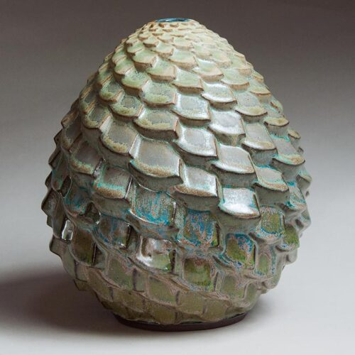 Mossy Periderm - Green-blue Ceramic Pot