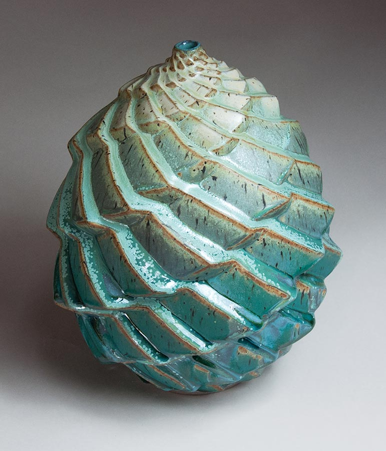 Terraced in Green - Turquoise ceramic pot