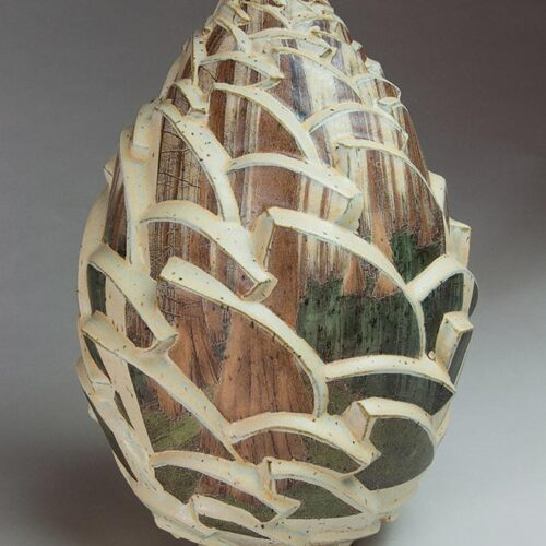 The Forest Within - Cream Colored Ceramic Pot With Forest Painted On Panels