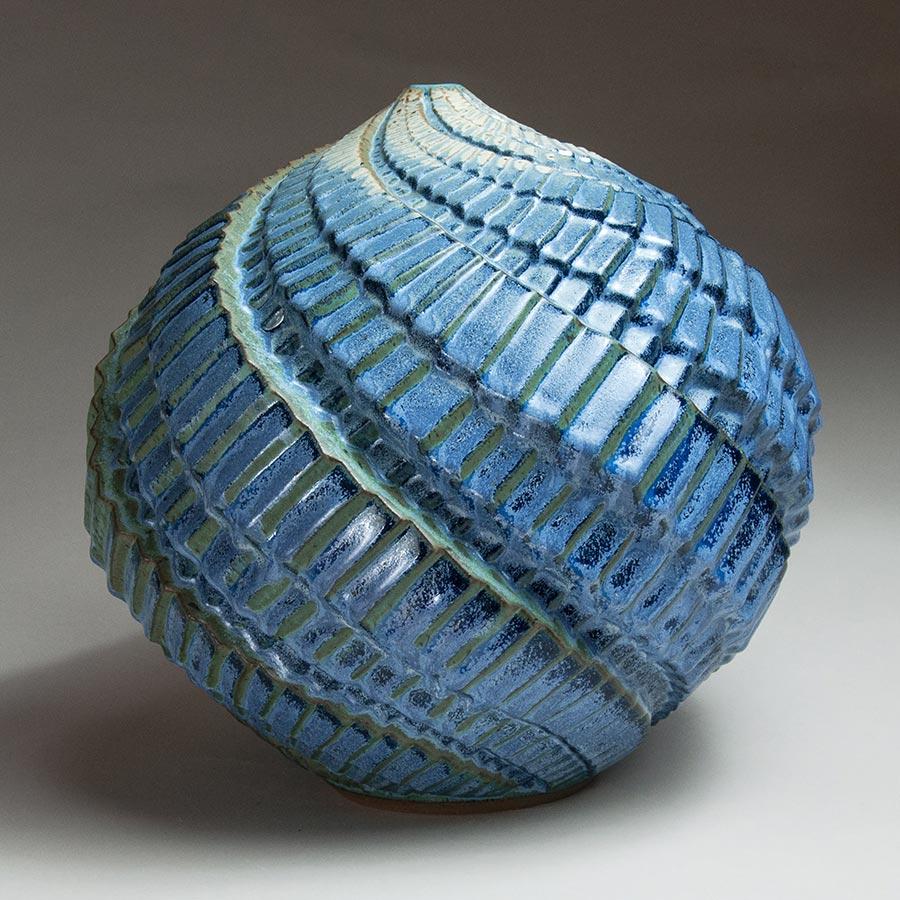 Trebling the Bass - Blue ceramic pot