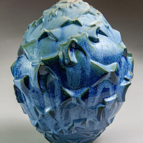 Journey To The Source 4 - Textured Blue Ceramic Pot